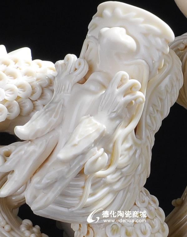 14寸双龙戏珠,礼品定做批发,动物艺术,工艺陶瓷--德化