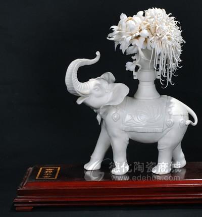 吉祥平安 德化白瓷传统动物大象花卉艺术雕塑家居