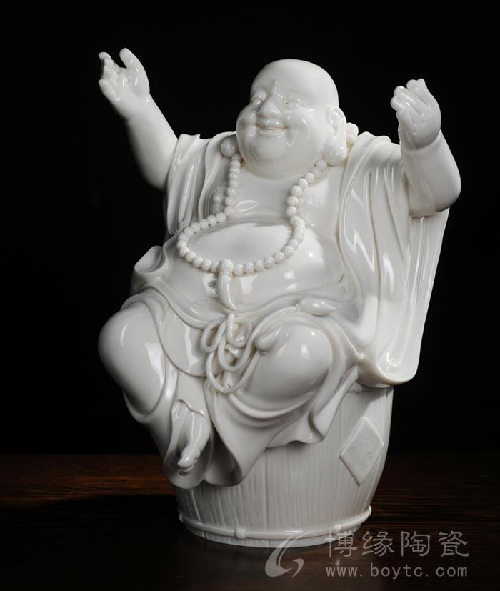 福桶万贯 德化白瓷大肚弥勒佛人物雕像 家居办公风水摆件