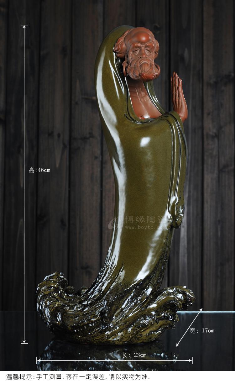 达摩渡江 家居镇宅人物摆件 手工雕塑 陶瓷礼品 佛教用品 福建省工艺