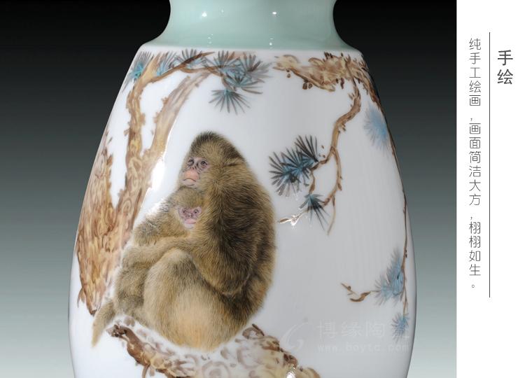 宝猴献瑞 景德镇大师手绘艺术花瓶工艺摆件